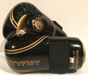Mightyfist point sparring gloves in shiny black and gold