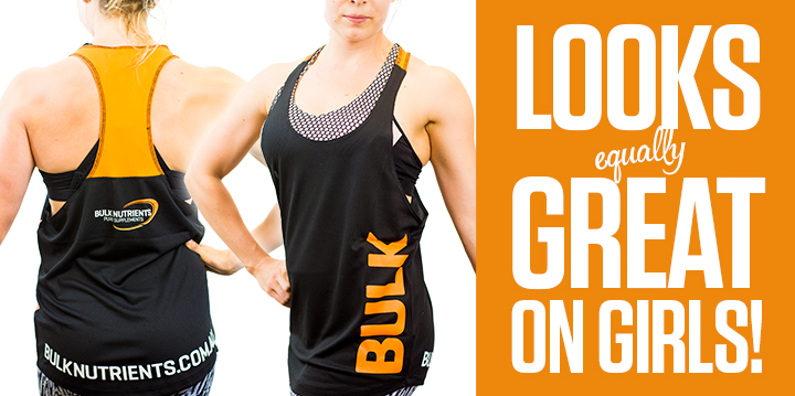 The all new Bulk Nutrients Unisex Stringer looks great on girls!