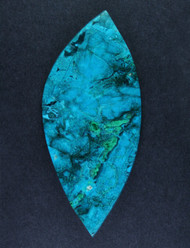 Bright Blue Chrysocolla and Malachite in Agate Cabochon  #15516