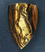 Dramatic Australian Tiger Eye Cabochon -  Gold with Hematite  #17544