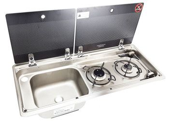Dometic MO9722L Slim 2-Burner Hob / Sink Combination with Glass Lids