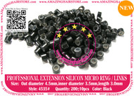 Silicon Micro Ring for 100% Remy Human Hair I tip fusion extensions-4535-Black