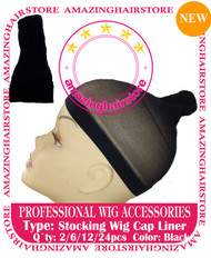 6pcs Black Stocking Wig Caps for Lace Front Hair Wigs