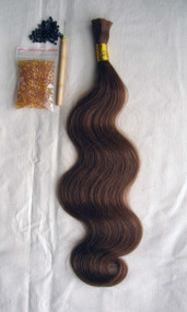 """24"""" 100% Brazilian Remy Human Hair Extensions Euro Wave- 8#"""