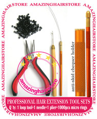 Feather & Human Hair Extensions Plier Micro Link Metal Looping / Pull Tool Kit