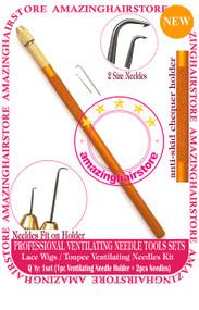 12 Sets Ventilating Needle+Holder KIT Make Lace Wigs / Toupee -6pcs Toolset
