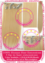 "19"" 9pcs 100% Human Hair clip in hair extension -Blonde #"