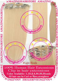 "19"" 9pcs 100% Human Hair clip in hair extension - Light Blonde#"