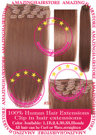 "19"" 9pcs 100% Human Hair clip in hair extension - 33#"