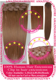 "19"" 9pcs 100% Human Hair clip in hair extension - 30#"