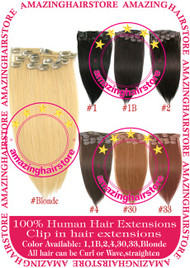 """15"""" 9PCS 100% Human Hair Clips In Extensions -Blonde#"""