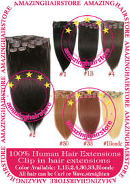 "15"" 9PCS 100% Human Hair Clips In Extensions -2#"