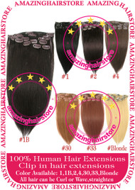 """15"""" 9PCS 100% Human Hair Clips In Extensions -1B#"""