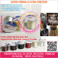 3X10m Strong Ultra Stretchy Elastic Weaving Thread for Brazilian Knot Extensions Jewelry Bracelet-Beige
