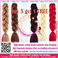 Colors A1~A40 of 100 Colors High Quality Braiding Hair 24 inch Jumbo Braids Ombre Synthetic Fiber Hair Extensions-FREE Shipping