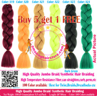 Color No: A1~A40 of 100 Colors High Quality Braiding Hair 24 inch Jumbo Braids Ombre Synthetic Fiber Hair Extensions-FREE Shipping