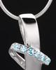 Sterling Silver Blue Inspirational Memories Cremation Urn Pendant
