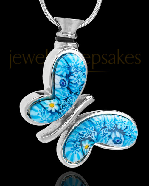 Silver Plated Fly Away Blue Butterfly Remembrance Charm