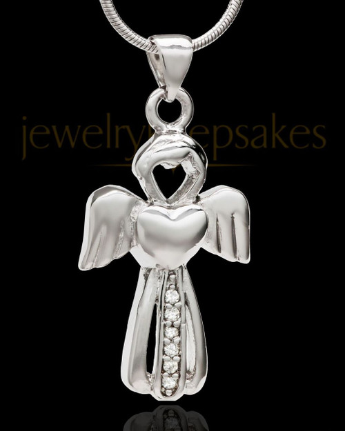 Sterling Silver Heavenly Attendant Cremation Urn Pendant