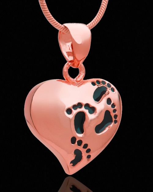 Rose Gold Journey to My Heart Cremation Urn Pendant