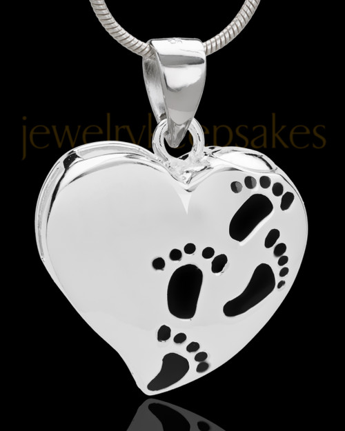 Small Sterling Silver Journey to My Heart Cremation Urn Pendant