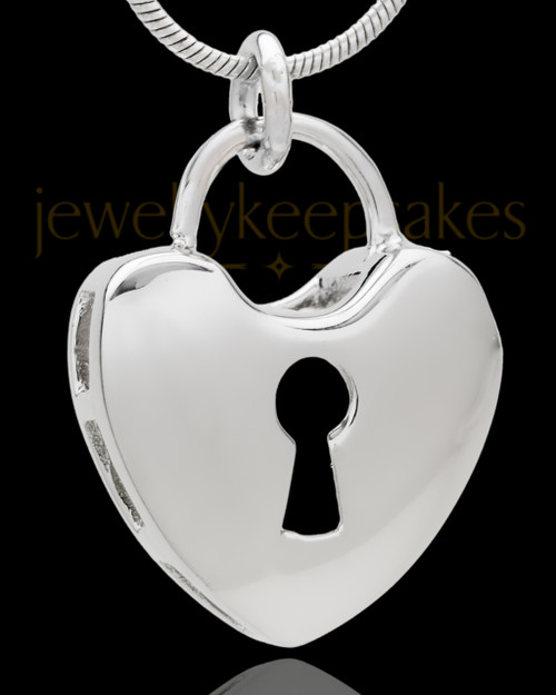 Silver Plated Key to My Heart Cremation Urn Pendant