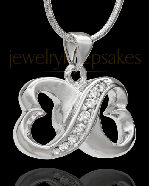 Sterling Silver For All Time Hearts Cremation Urn Pendant