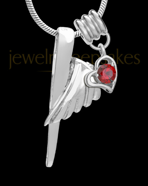 Sterling Silver Grace Cremation Urn Pendant - January