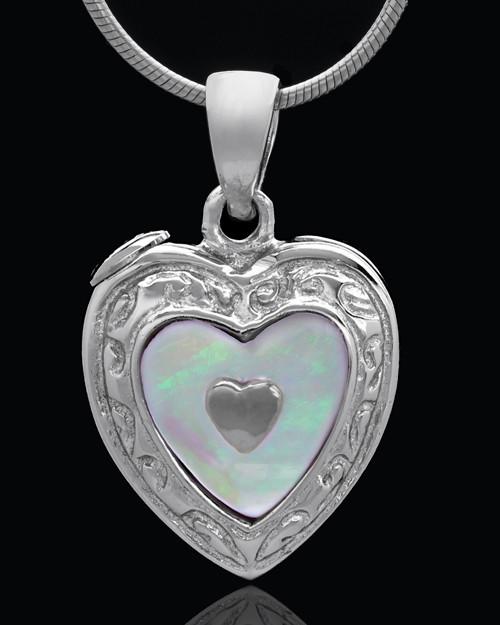 Sterling Silver Shimmer Heart Keepsake Jewelry