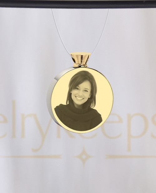 Photo Engraved Stainless Gold Plated Cremation Reflection Pendant