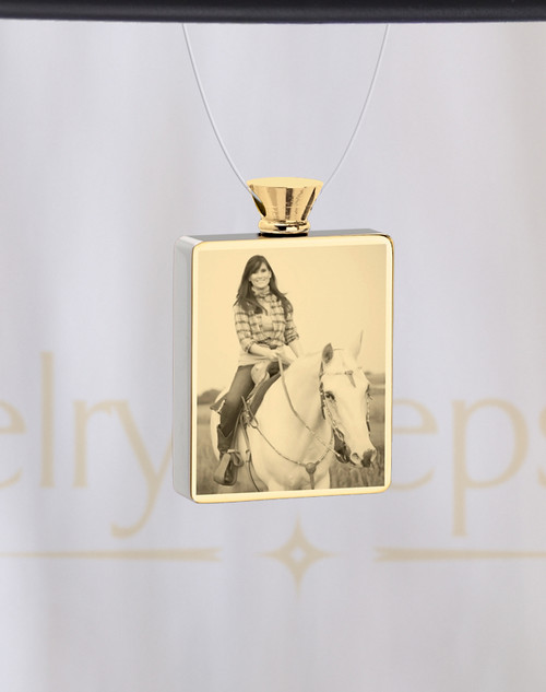 Photo Engraved Rectangle Gold Plated Pet Ash Reflection Pendant