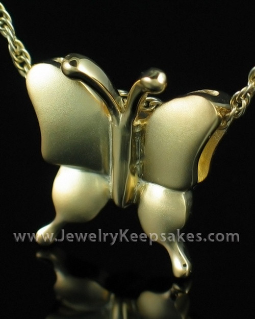 Cremation Necklace Gold Plated Butterflies Keepsake