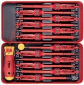 FELO 53439 E-Smart 14 pc Square 2 Set - Slotted, Phillips, Square, Torx Tip Insulated Blades with 2 Handles