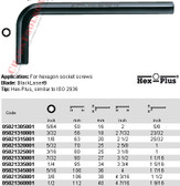"05021345001 WERA 950 HEX PLUS HEX KEY 5/16"" X 4"""