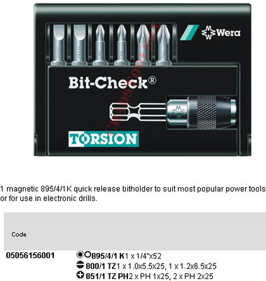 05056156001 WERA 8000-6 PH/TZ 6PC BIT CHECK