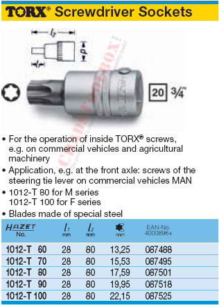 HAZET 1012-T90 TORX SCREWDRIVER SOCKET