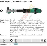 "WERA 05003550001 8000 B ZYKLOP SPEED RATCHET 3/8"" ZYKLOP RATCHET WITH 3/8"" DRIVE"