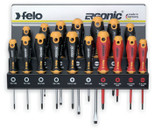 FELO 61391 Ergonic 17 pce Screwdriver Set w/Steel Rack