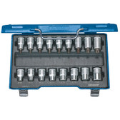 "Gedore 6129520 Screwdriver bit socket set 1/2"" 17 pcs TORX ITX 19 TX-017"
