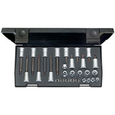 "Gedore 1509969 Screwdriver bit socket set 3/8+1/4"" 28 pcs TORX 30 TX 20"