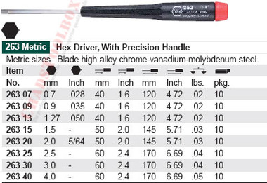 WIHA 26309 Precision Hex .89 & .035 X 40mm