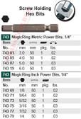 WIHA 74319 MagicRing Power Bit Std Hex End 6.0