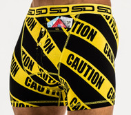 Smuggling Duds Caution Mens Boxer Shorts Black/Yellow