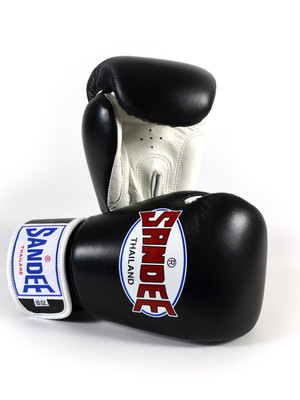 Sandee Authentic Leather Boxing Gloves Black/White