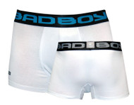 Bad Boy Boxer Shorts 2 Pack White - Medium