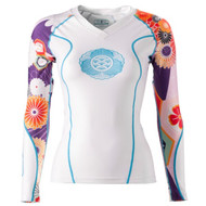 Grips Athletics Power Flower Long Sleeve Ladies Rash Guard White