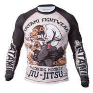 Tatami Fightwear Thinker Monkey Mens Rash Guard Black/White