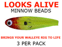 Looks Alive Minnow Beads TRANSPARENT CHARTREUSE RED HEAD