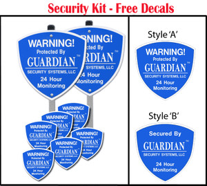 Our Professional Grade Yard Security Signs with Stakes and matching Window Decals are on sale. For a limited time, buy our Yard Security Signs Kit containing 2 Yard Security Signs with Stakes and get 6 matching window decals.