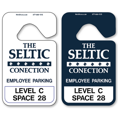 Parking Permit Hang Tags allow endless design possibilities and project a professional image. Available in over 30 Stock Ink Colors or unlimited custom colors. These durable Parking Hang Tags are printed on heavy duty .035 inch material to give you the strongest parking permit available. Order today and get Free Setup, Free Numbering and Free Logo.